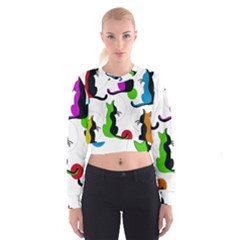 Colorful abstract cats Women s Cropped Sweatshirt