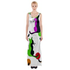 Colorful abstract cats Maxi Thigh Split Dress