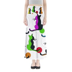 Colorful abstract cats Maxi Skirts