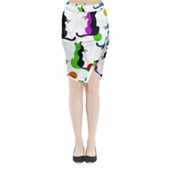 Colorful abstract cats Midi Wrap Pencil Skirt