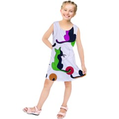 Colorful Abstract Cats Kids  Tunic Dress