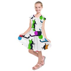 Colorful abstract cats Kids  Short Sleeve Dress