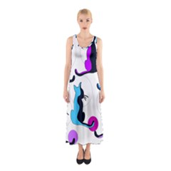 Purple abstract cats Sleeveless Maxi Dress