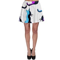 Purple abstract cats Skater Skirt