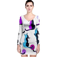 Purple abstract cats Long Sleeve Bodycon Dress
