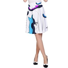 Purple abstract cats A-Line Skirt