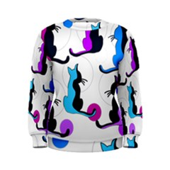 Purple abstract cats Women s Sweatshirt