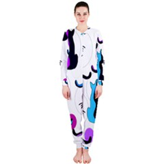 Purple abstract cats OnePiece Jumpsuit (Ladies)