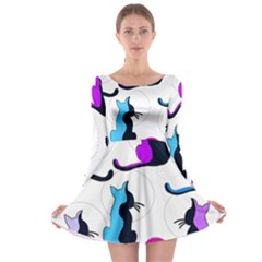 Purple abstract cats Long Sleeve Skater Dress