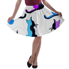 Purple abstract cats A-line Skater Skirt
