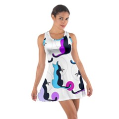 Purple abstract cats Cotton Racerback Dress