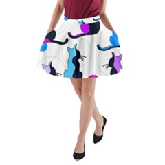 Purple abstract cats A-Line Pocket Skirt