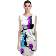 Purple abstract cats Classic Sleeveless Midi Dress