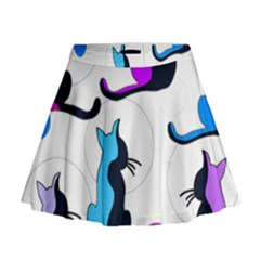 Purple abstract cats Mini Flare Skirt