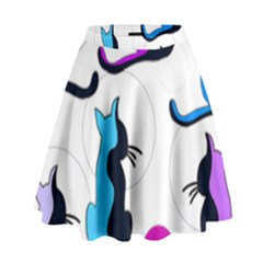 Purple abstract cats High Waist Skirt