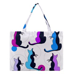 Purple abstract cats Medium Tote Bag