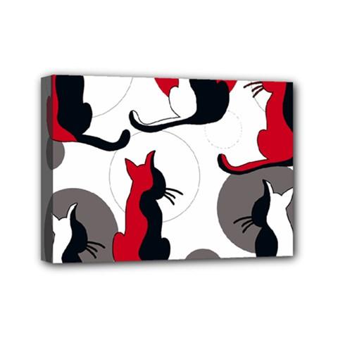 Elegant abstract cats  Mini Canvas 7  x 5
