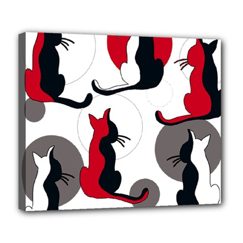 Elegant abstract cats  Deluxe Canvas 24  x 20