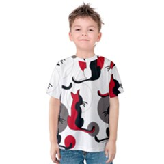 Elegant abstract cats  Kids  Cotton Tee