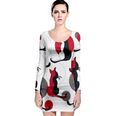 Elegant abstract cats  Long Sleeve Bodycon Dress