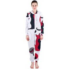 Elegant abstract cats  Hooded Jumpsuit (Ladies)