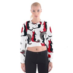 Elegant abstract cats  Women s Cropped Sweatshirt