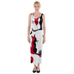 Elegant abstract cats  Fitted Maxi Dress