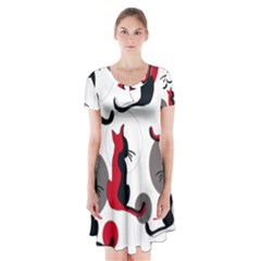 Elegant abstract cats  Short Sleeve V-neck Flare Dress