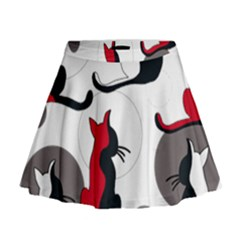 Elegant abstract cats  Mini Flare Skirt