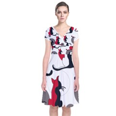 Elegant abstract cats  Short Sleeve Front Wrap Dress
