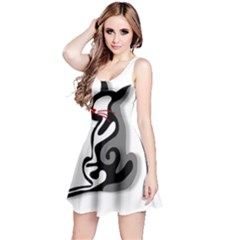 Elegant abstract cat  Reversible Sleeveless Dress