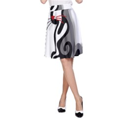 Elegant abstract cat  A-Line Skirt