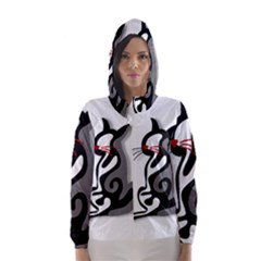 Elegant abstract cat  Hooded Wind Breaker (Women)