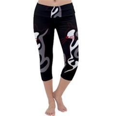 Gray elegant cat Capri Yoga Leggings