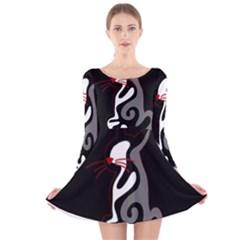 Gray elegant cat Long Sleeve Velvet Skater Dress