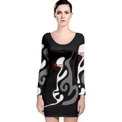 Gray elegant cat Long Sleeve Velvet Bodycon Dress