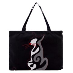 Gray elegant cat Medium Zipper Tote Bag