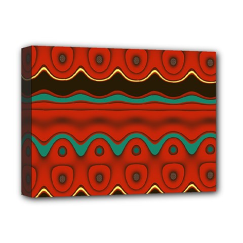 Orange Black and Blue Pattern Deluxe Canvas 16  x 12