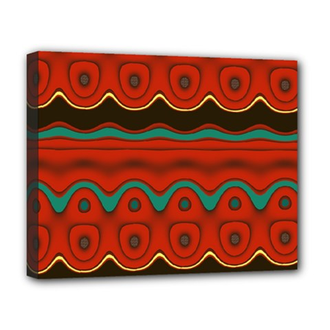 Orange Black and Blue Pattern Deluxe Canvas 20  x 16