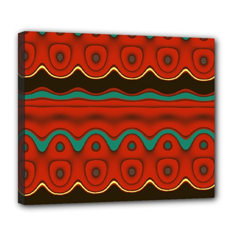 Orange Black and Blue Pattern Deluxe Canvas 24  x 20
