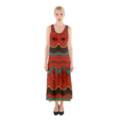 Orange Black and Blue Pattern Sleeveless Maxi Dress