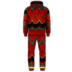 Orange Black and Blue Pattern Hooded Jumpsuit (Men)
