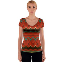 Orange Black and Blue Pattern Women s V-Neck Cap Sleeve Top