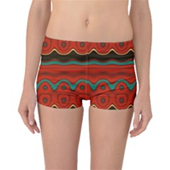 Orange Black and Blue Pattern Boyleg Bikini Bottoms