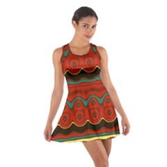Orange Black and Blue Pattern Cotton Racerback Dress