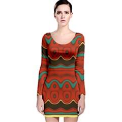 Orange Black And Blue Pattern Long Sleeve Velvet Bodycon Dress