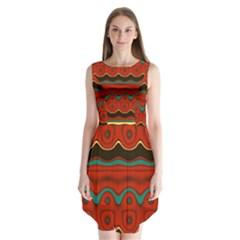 Orange Black and Blue Pattern Sleeveless Chiffon Dress