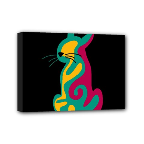 Colorful abstract cat  Mini Canvas 7  x 5