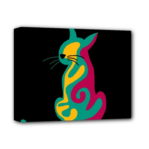 Colorful abstract cat  Deluxe Canvas 14  x 11