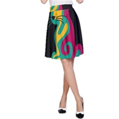 Colorful abstract cat  A-Line Skirt